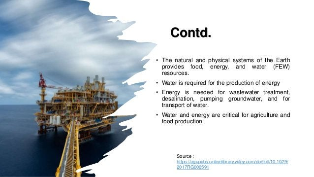 Contd. • The natural and physical systems of the Earth provides food, energy, and water (FEW) resources. • Water is requir...