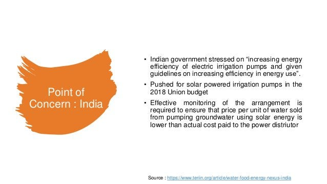 """Point of Concern : India • Indian government stressed on """"increasing energy efficiency of electric irrigation pumps and gi..."""