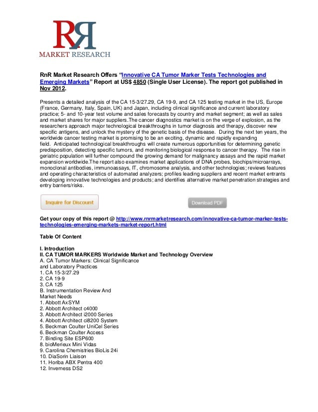 """RnR Market Research Offers """"Innovative CA Tumor Marker Tests Technologies andEmerging Markets"""" Report at US$ 4850 (Single ..."""