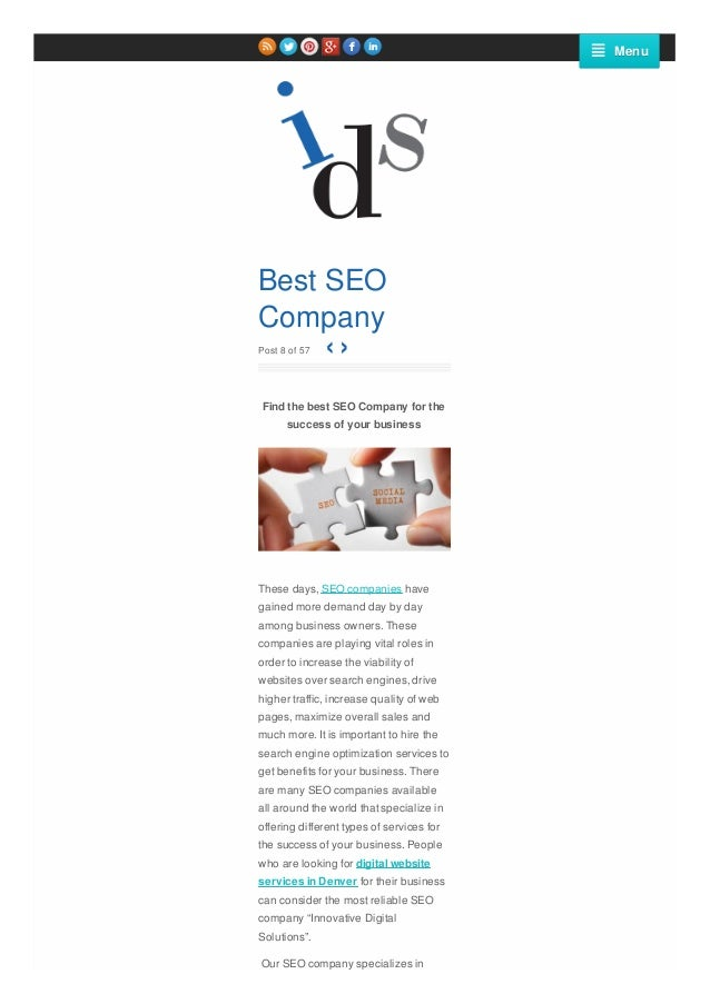 Menu  Best SEO Company ‹› Post 8 of 57  Find the best SEO Company for the success of your business  These days, SEO compan...