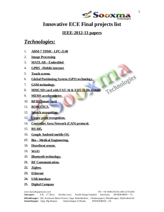 1                 Innovative ECE Final projects list                                   IEEE-2012-13 papersTechnologies:1. ...