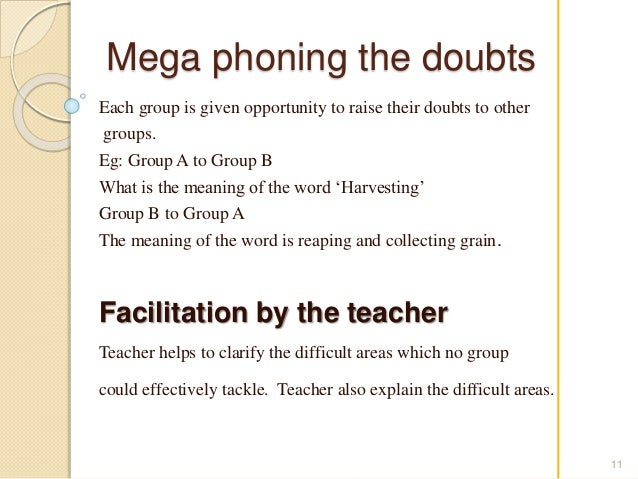 Mega phoning the doubts  Each group is given opportunity to raise their doubts to other  groups.  Eg: Group A to Group B  ...
