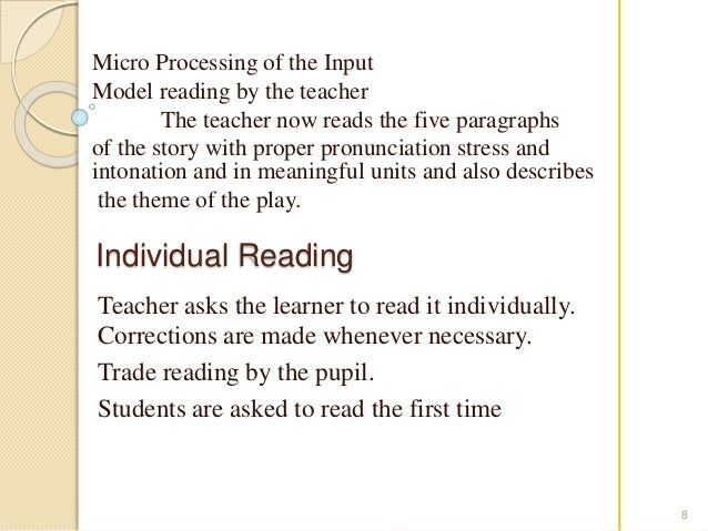 Micro Processing of the Input  Model reading by the teacher  The teacher now reads the five paragraphs  of the story with ...