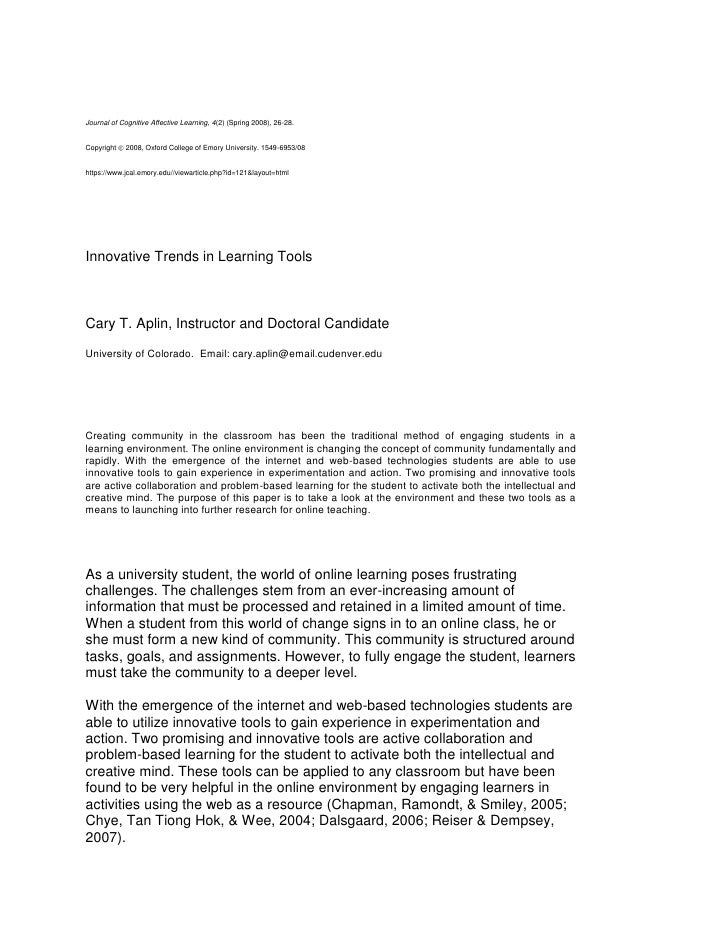Journal of Cognitive Affective Learning, 4(2) (Spring 2008), 26-28. Copyright  2008, Oxford College of Emory University. ...