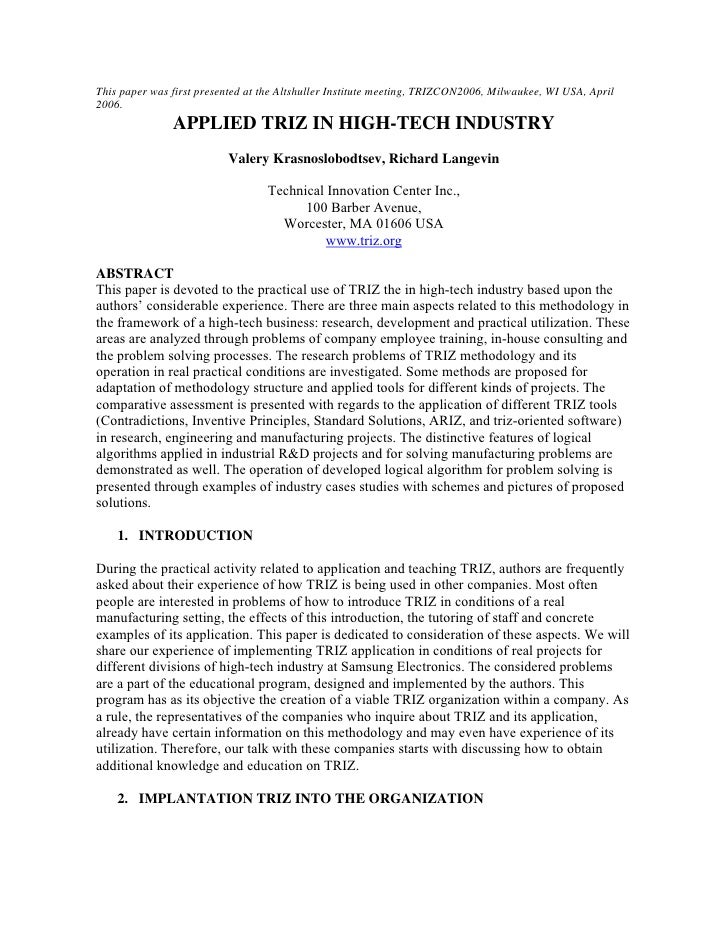 This paper was first presented at the Altshuller Institute meeting, TRIZCON2006, Milwaukee, WI USA, April 2006.           ...