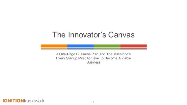 The Innovator's Canvas A One-Page Business Plan And The Milestone's Every Startup Must Achieve To Become A Viable Business...