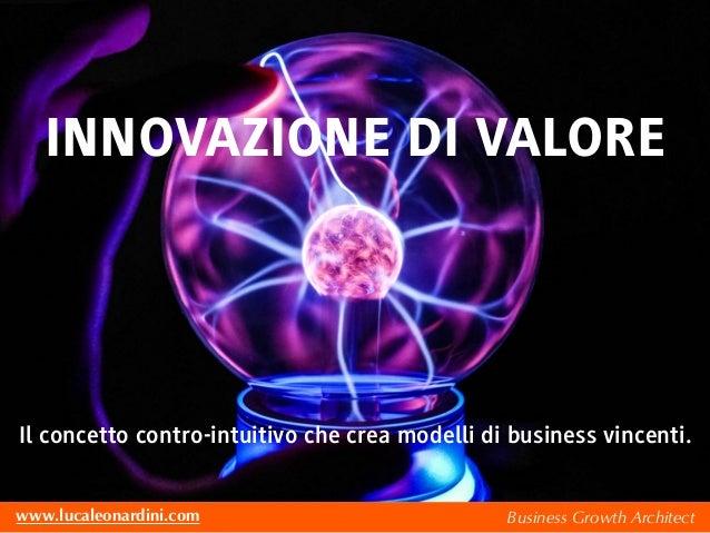 Business Growth Architectwww.lucaleonardini.com INNOVAZIONE DI VALORE Il concetto contro-intuitivo che crea modelli di bus...