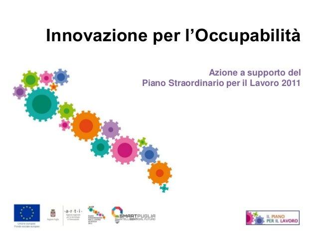 Innovazione per l'Occupabilità                          Azione a supporto del           Piano Straordinario per il Lavoro ...