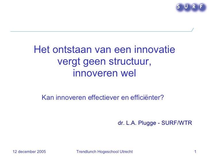 dr. L.A. Plugge - SURF/WTR Het ontstaan van een innovatie vergt geen structuur, innoveren wel Kan innoveren effectiever en...