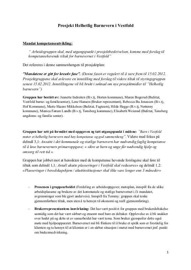 """Prosjekt Helhetlig Barnevern i Vestfold  Mandat kompetanseutvikling: """" Arbeidsgruppen skal, med utgangspunkt i prosjektbes..."""