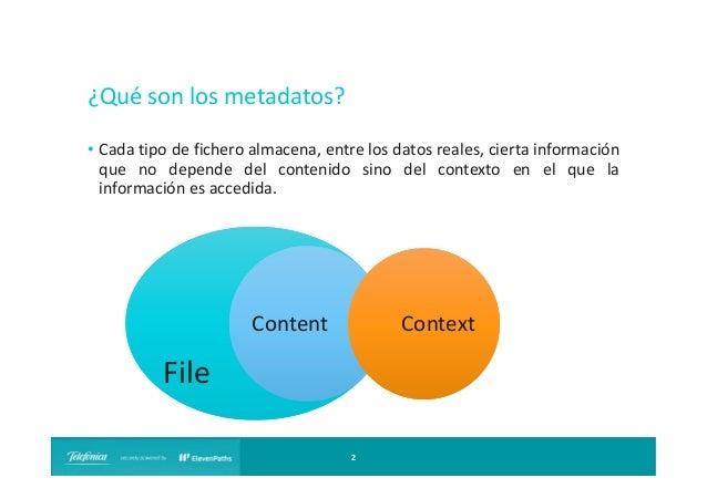 ¿Qué son los metadatos? • Cada tipo de fichero almacena, entre los datos reales, cierta información que no depende del con...