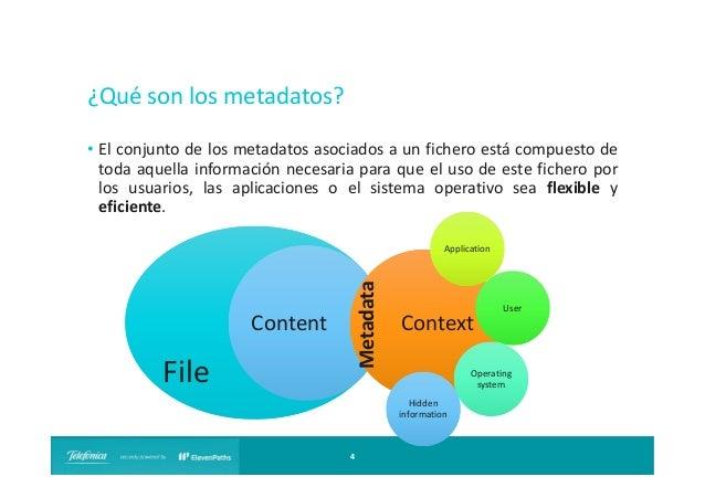 ¿Qué son los metadatos? • El conjunto de los metadatos asociados a un fichero está compuesto de toda aquella información n...