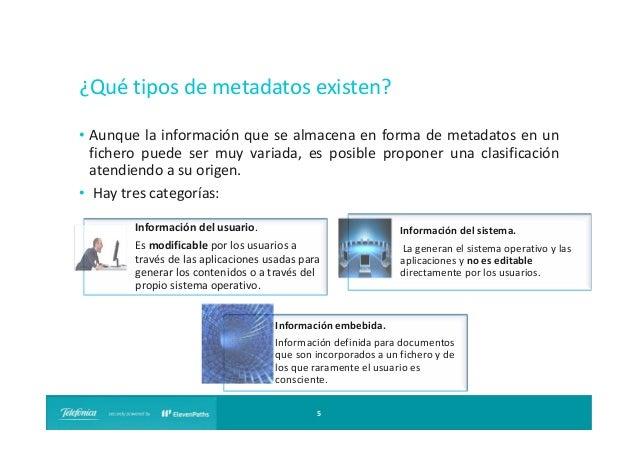 ¿Qué tipos de metadatos existen? • Aunque la información que se almacena en forma de metadatos en un fichero puede ser muy...
