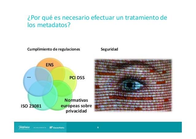 ¿Por qué es necesario efectuar un tratamiento de los metadatos?  Seguridad  Cumplimiento de regulaciones  ENS ...  ISO 230...