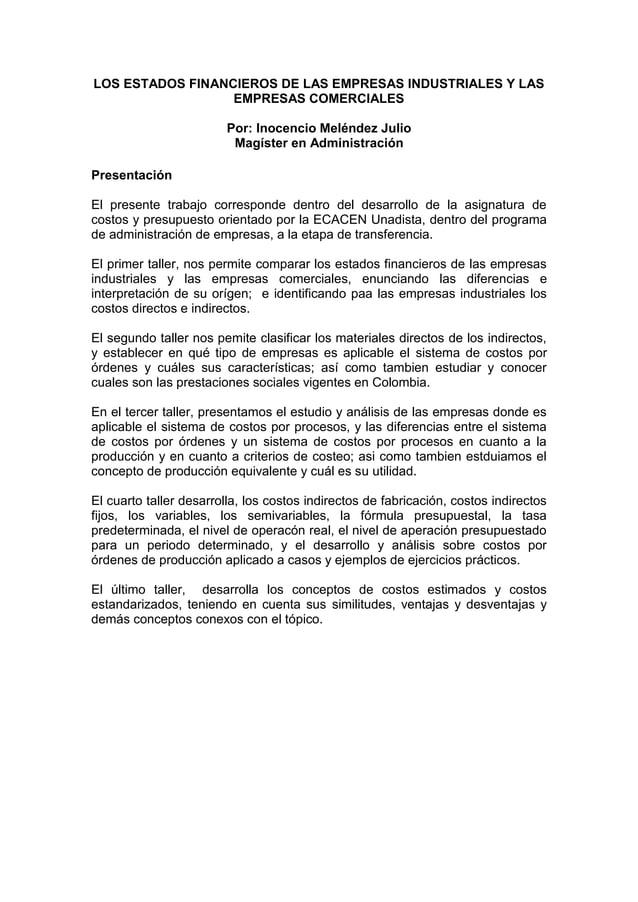LOS ESTADOS FINANCIEROS DE LAS EMPRESAS INDUSTRIALES Y LAS                  EMPRESAS COMERCIALES                         P...