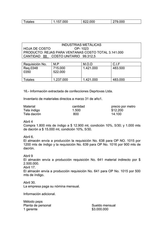 Totales              1.157.000         822.000            279.000                   INDUSTRIAS METÁLICASHOJA DE COSTO     ...