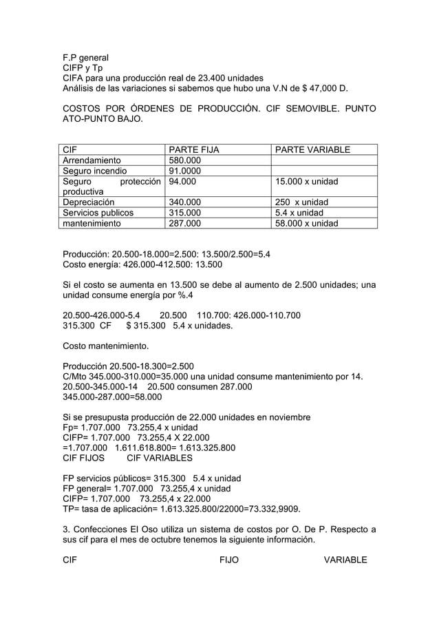 F.P generalCIFP y TpCIFA para una producción real de 23.400 unidadesAnálisis de las variaciones si sabemos que hubo una V....