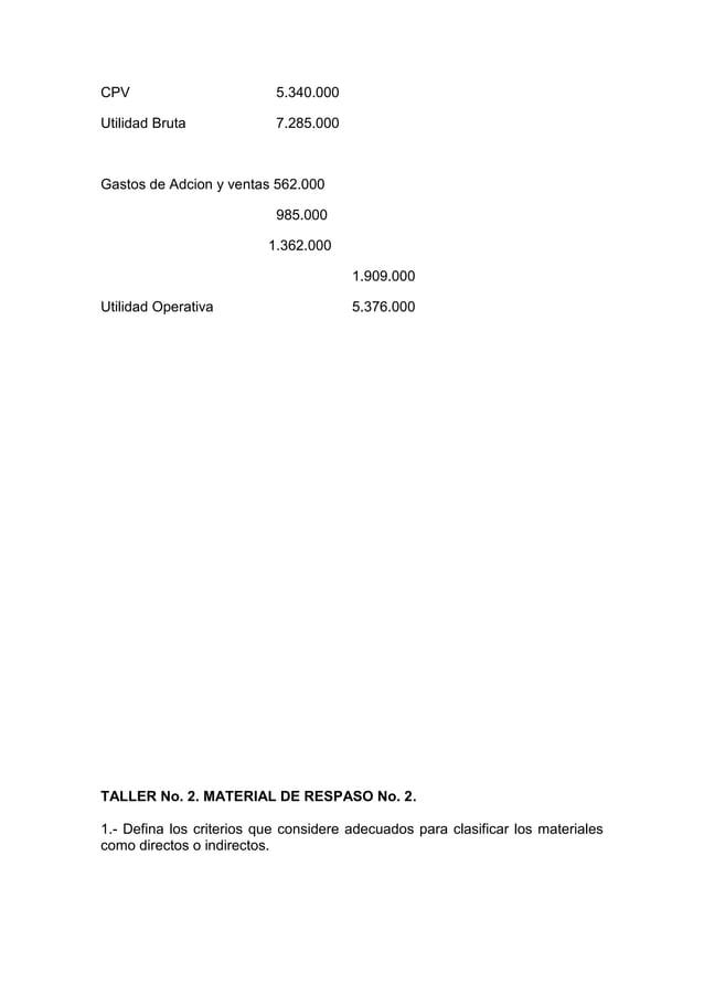 CPV                        5.340.000Utilidad Bruta             7.285.000Gastos de Adcion y ventas 562.000                 ...