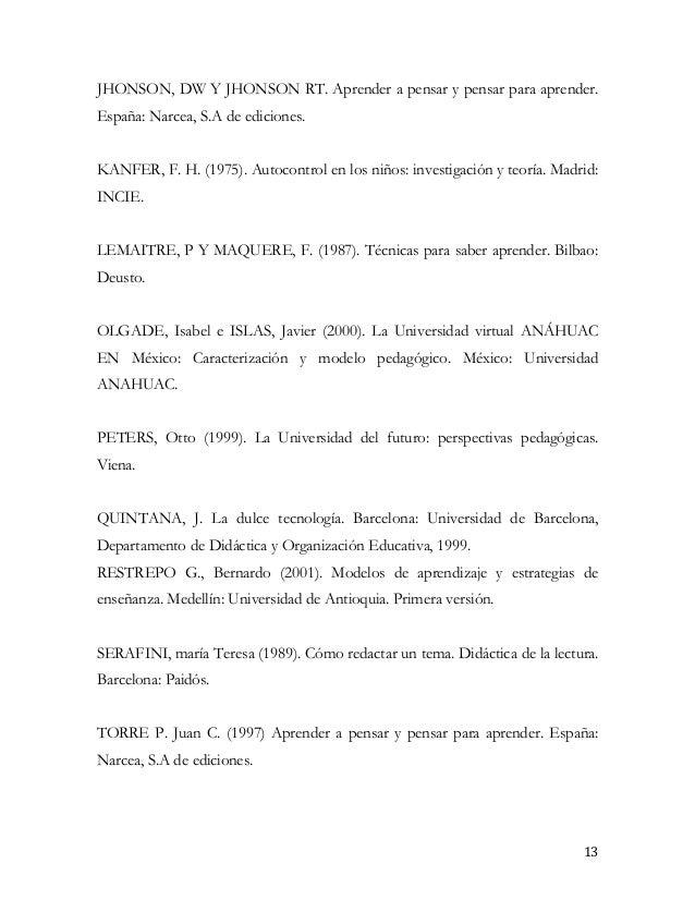 JHONSON, DW Y JHONSON RT. Aprender a pensar y pensar para aprender.España: Narcea, S.A de ediciones.KANFER, F. H. (1975). ...