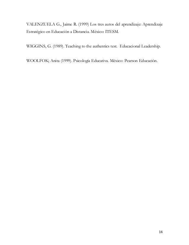 VALENZUELA G., Jaime R. (1999) Los tres autos del aprendizaje: AprendizajeEstratégico en Educación a Distancia. México: IT...