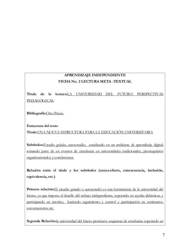 APRENDIZAJE INDEPENDIENTE                       FICHA No. 2 LECTURA META -TEXTUALTítulo   de    la     lectura:LA    UNIVE...
