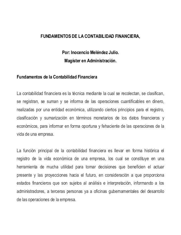 FUNDAMENTOS DE LA CONTABILIDAD FINANCIERA,                          Por: Inocencio Meléndez Julio.                        ...