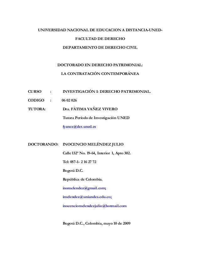 UNIVERSIDAD NACIONAL DE EDUCACION A DISTANCIA-UNED-                       FACULTAD DE DERECHO                DEPARTAMENTO ...