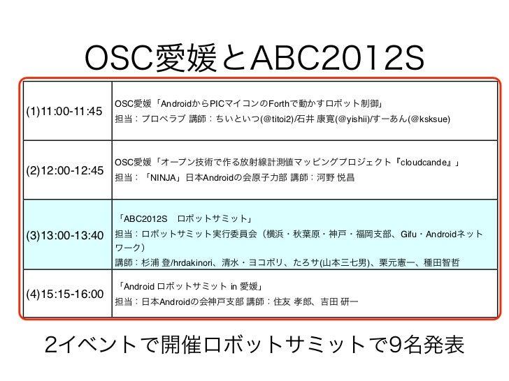 OSC愛媛とABC2012S                 OSC愛媛「AndroidからPICマイコンのForthで動かすロボット制御」(1)11:00-11:45                 担当:プロペラブ 講師:ちいといつ(@ti...
