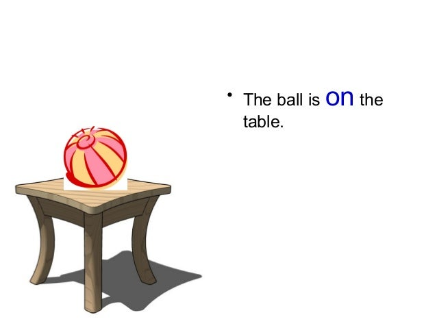 • The ball is on the table.