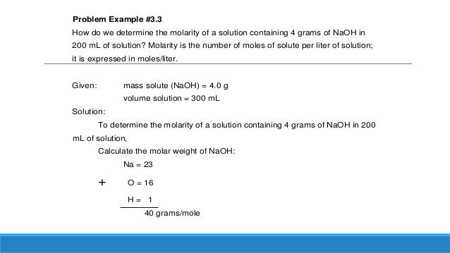 Quantitative Expressions of the Concentration of Solutions