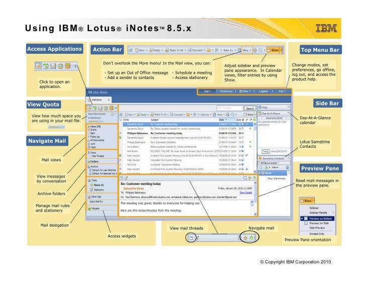 Lotus iNotes 8.5.x Reference Card
