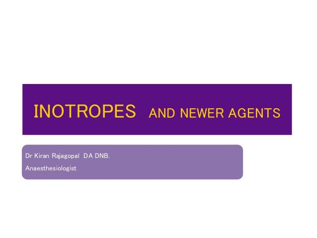 INOTROPES AND NEWER AGENTS Dr Kiran Rajagopal DA DNB. Anaesthesiologist
