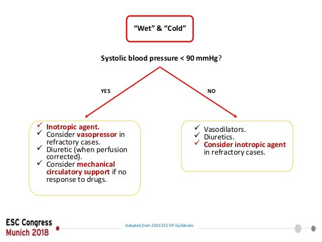 """""""Wet"""" & """"Cold"""" Systolic blood pressure < 90 mmHg? YES NO  Inotropic agent.  Consider vasopressor in refractory cases.  ..."""