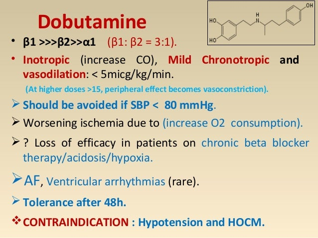 DOPAMINE <3 mcg 3 - 10 mcg > 10 mcg ↑Contractility Minimal change in HR and SVR ↑ Renal BF ↑ Splanchnic BF Modest ↑ CO ↑ R...