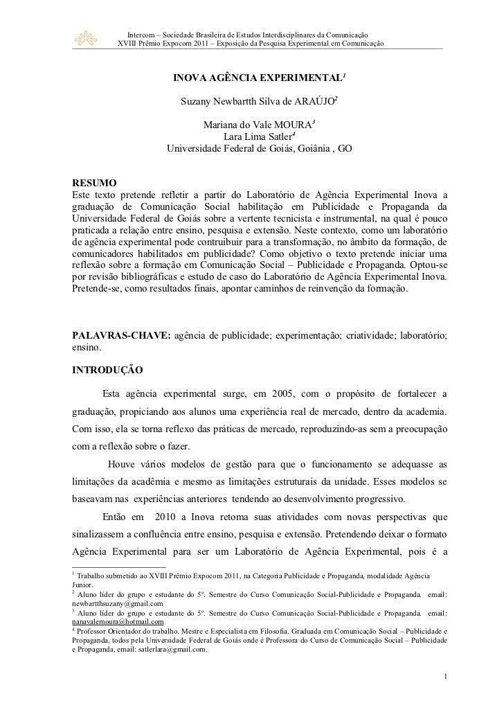 Intercom – Sociedade Brasileira de Estudos Interdisciplinares da Comunicação              XVIII Prêmio Expocom 2011 – Expo...