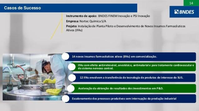 14 14 novos insumos farmacêuticos ativos (IFAs) em comercialização. IFAs com efeito antirretroviral, anestésico, antimalar...