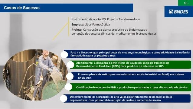 16 Casos de Sucesso Instrumento de apoio: PSI Projetos Transformadores Empresa: Libbs Farmacêutica Projeto: Construção da ...