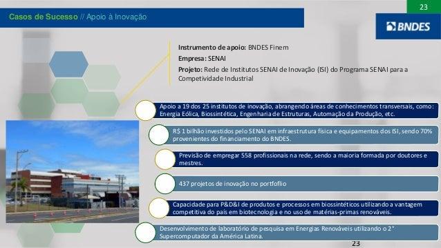 23 Instrumento de apoio: BNDES Finem Empresa: SENAI Projeto: Rede de Institutos SENAI de Inovação (ISI) do Programa SENAI ...