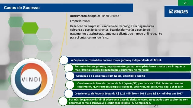 29 29 A Empresa se consolidou como o maior gateway independente do Brasil. Por meio do seu gateway de pagamentos, possui u...