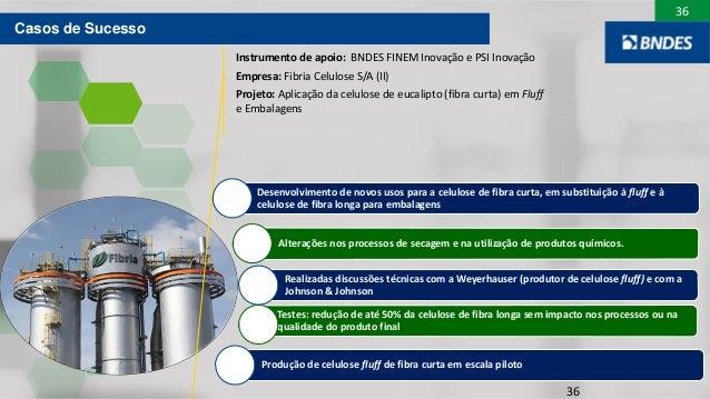 36 36 Desenvolvimento de novos usos para a celulose de fibra curta, em substituição à fluff e à celulose de fibra longa pa...