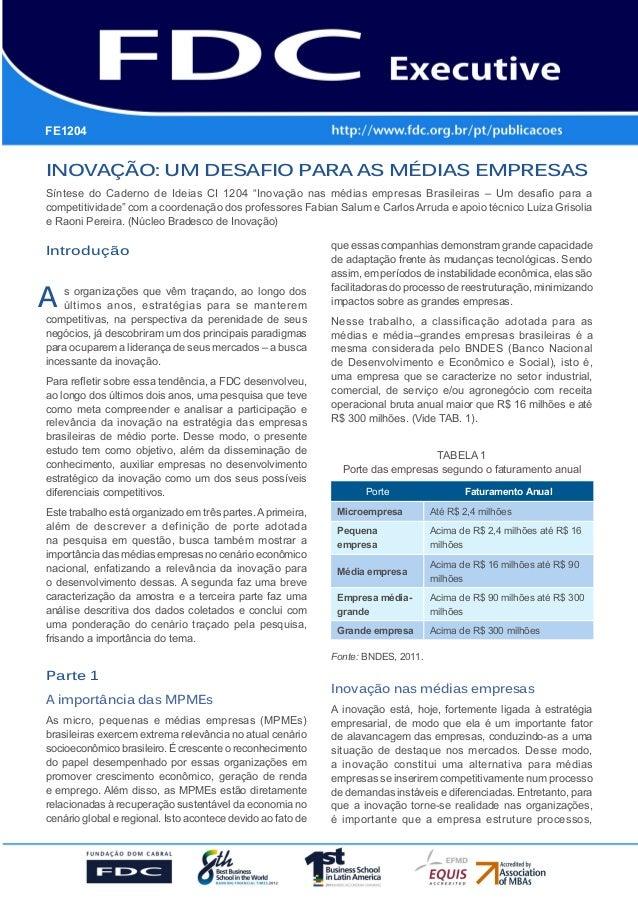 FE1204      Gestão Estratégica do SuprimentoInovação: um desafio para as médias empresas      e o Impacto no Desempenho da...