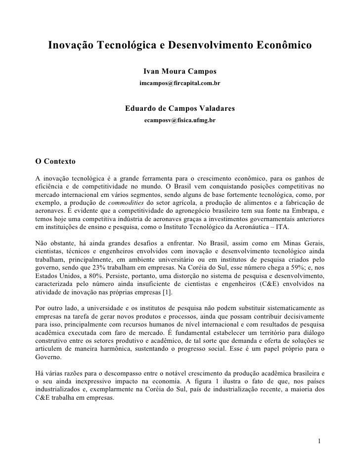 Inovação Tecnológica e Desenvolvimento Econômico                                       Ivan Moura Campos                  ...