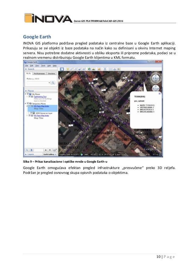 Inova GIS PLATFORMA&TeleCAD-GIS 2016 10   P a g e Google Earth INOVA GIS platforma podržava pregled podataka iz centralne ...
