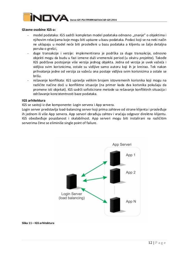 Inova GIS PLATFORMA&TeleCAD-GIS 2016 12   P a g e Glavne osobine IGS-a: - model podataka: IGS sadrži kompletan model podat...