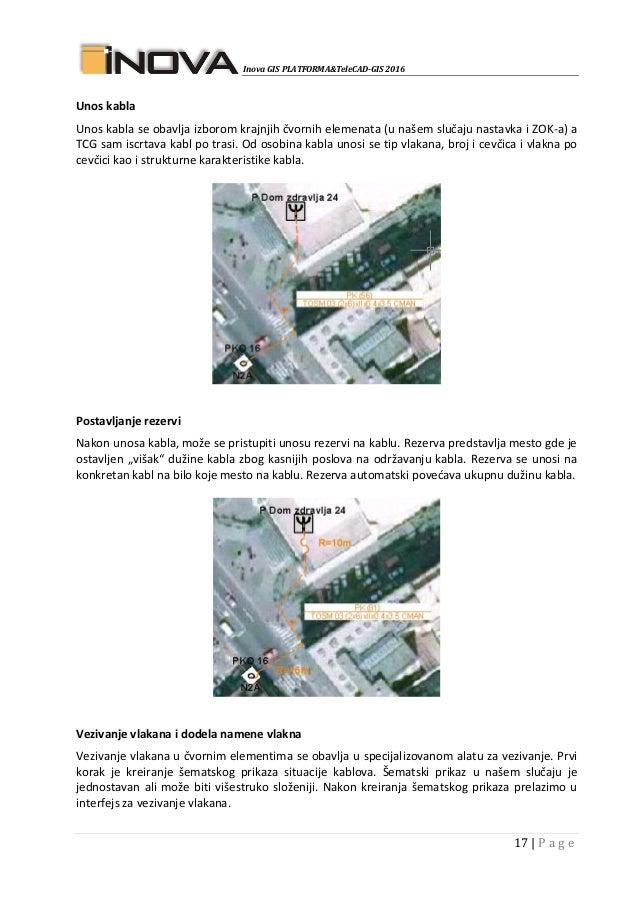 Inova GIS PLATFORMA&TeleCAD-GIS 2016 17   P a g e Unos kabla Unos kabla se obavlja izborom krajnjih čvornih elemenata (u n...