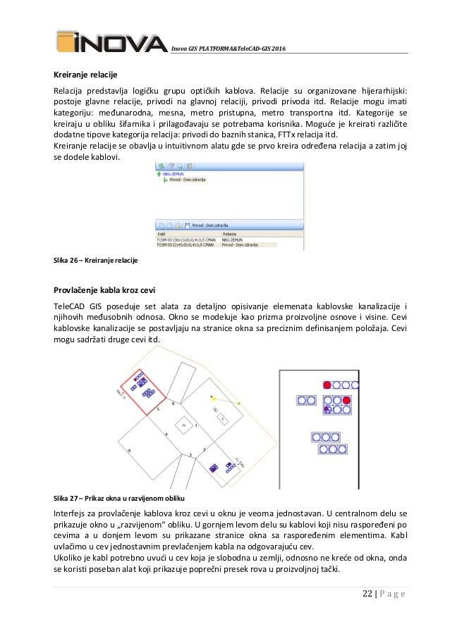 Inova GIS PLATFORMA&TeleCAD-GIS 2016 22   P a g e Kreiranje relacije Relacija predstavlja logičku grupu optičkih kablova. ...