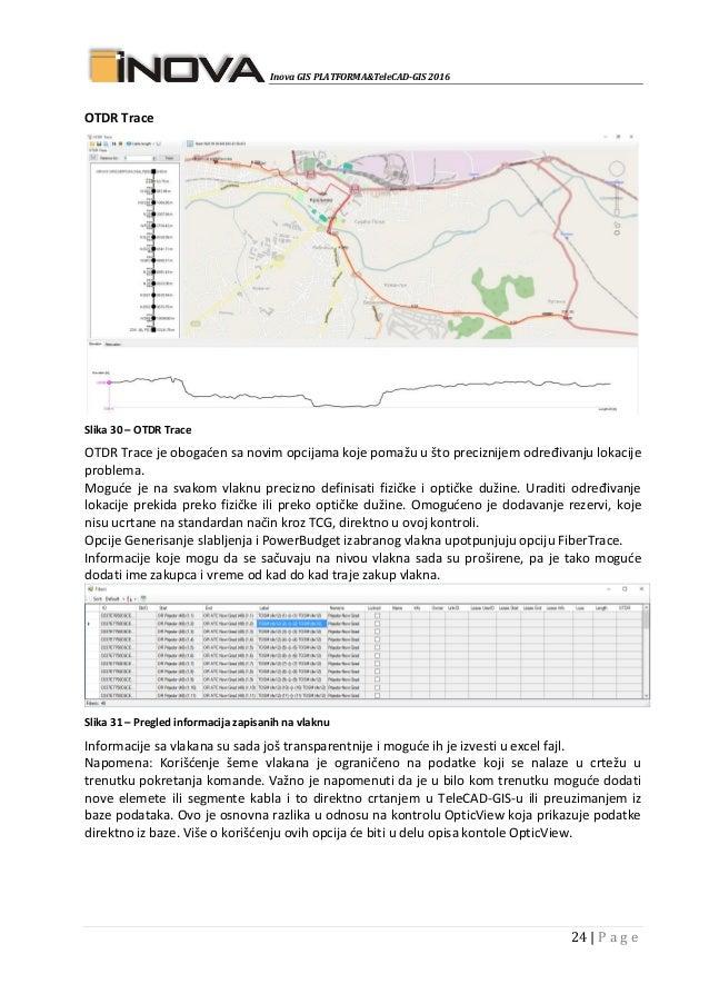 Inova GIS PLATFORMA&TeleCAD-GIS 2016 24   P a g e OTDR Trace Slika 30 – OTDR Trace OTDR Trace je obogaćen sa novim opcijam...