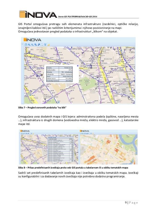 Inova GIS PLATFORMA&TeleCAD-GIS 2016 9   P a g e GIS Portal omogućava pretragu svih elemenata infrastrukture (razdelnici, ...