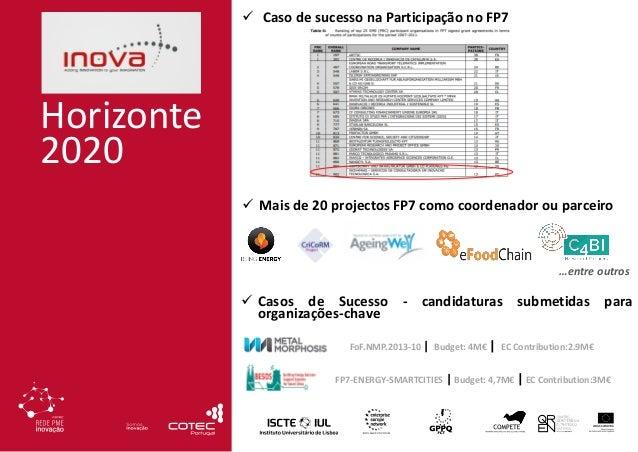 Horizonte 2020 …entre outros FoF.NMP.2013-10 | Budget: 4M€ | EC Contribution:2.9M€ FP7-ENERGY-SMARTCITIES | Budget: 4,7M€ ...