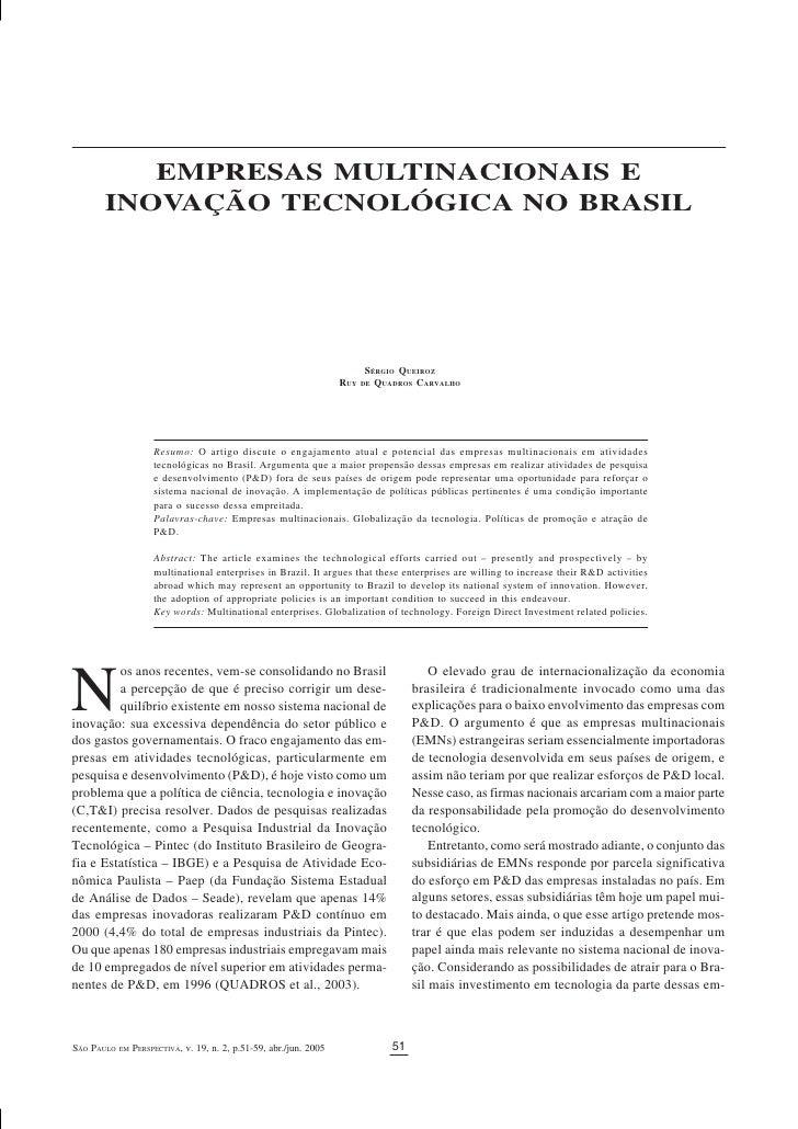 EMPRESAS MULTINACIONAIS   E I NOVAÇÃO   TECNOLÓGICA   NO   BRASIL              EMPRESAS MULTINACIONAIS E        INOVAÇÃO T...